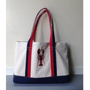 embroidered lobster beach canvas tote